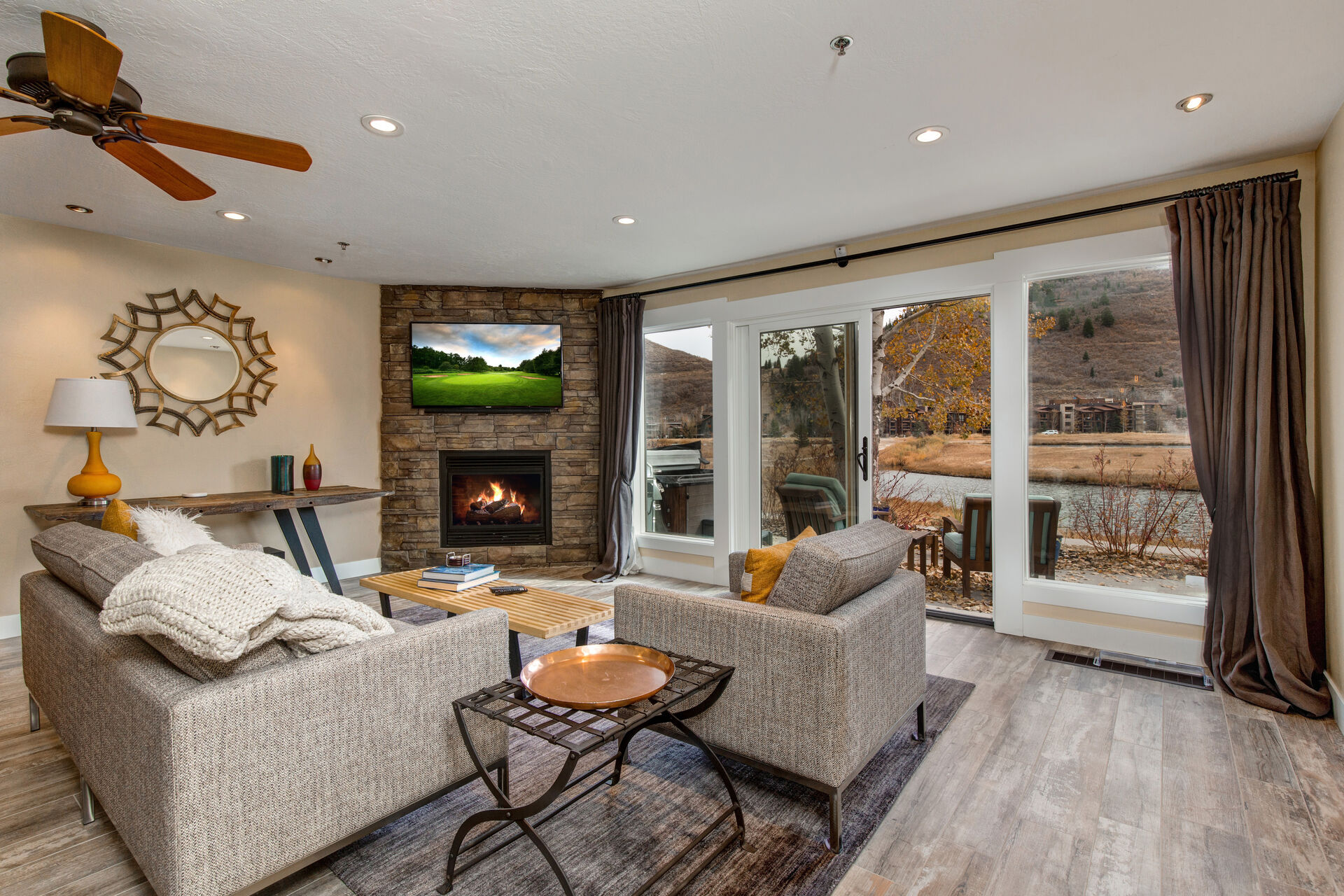 Living Room with Fireplace in Our Condos for Rent in Park City.