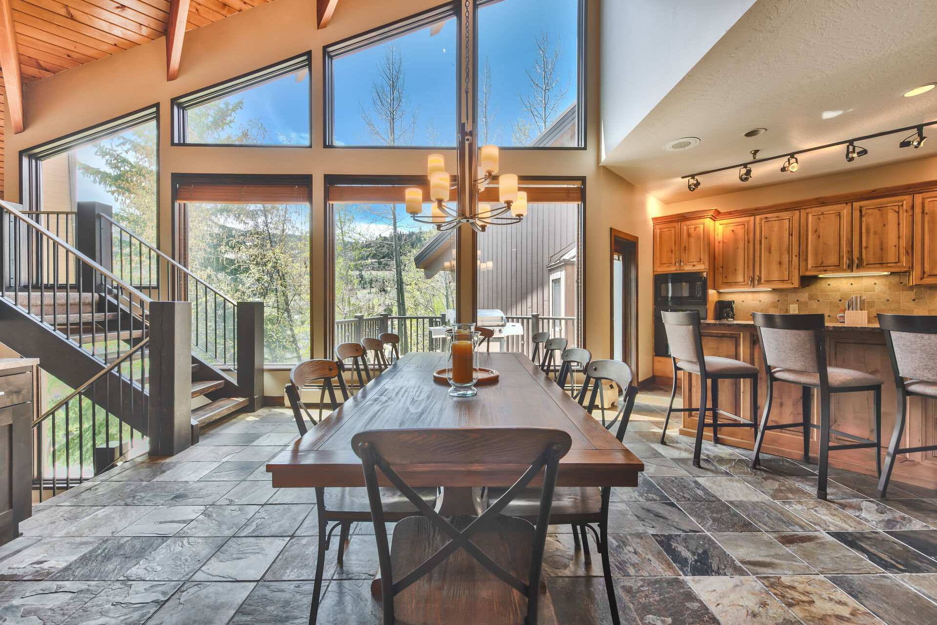 Dining Area and the Kitchen in One of Our Deer Valley Vacation Home Rentals.