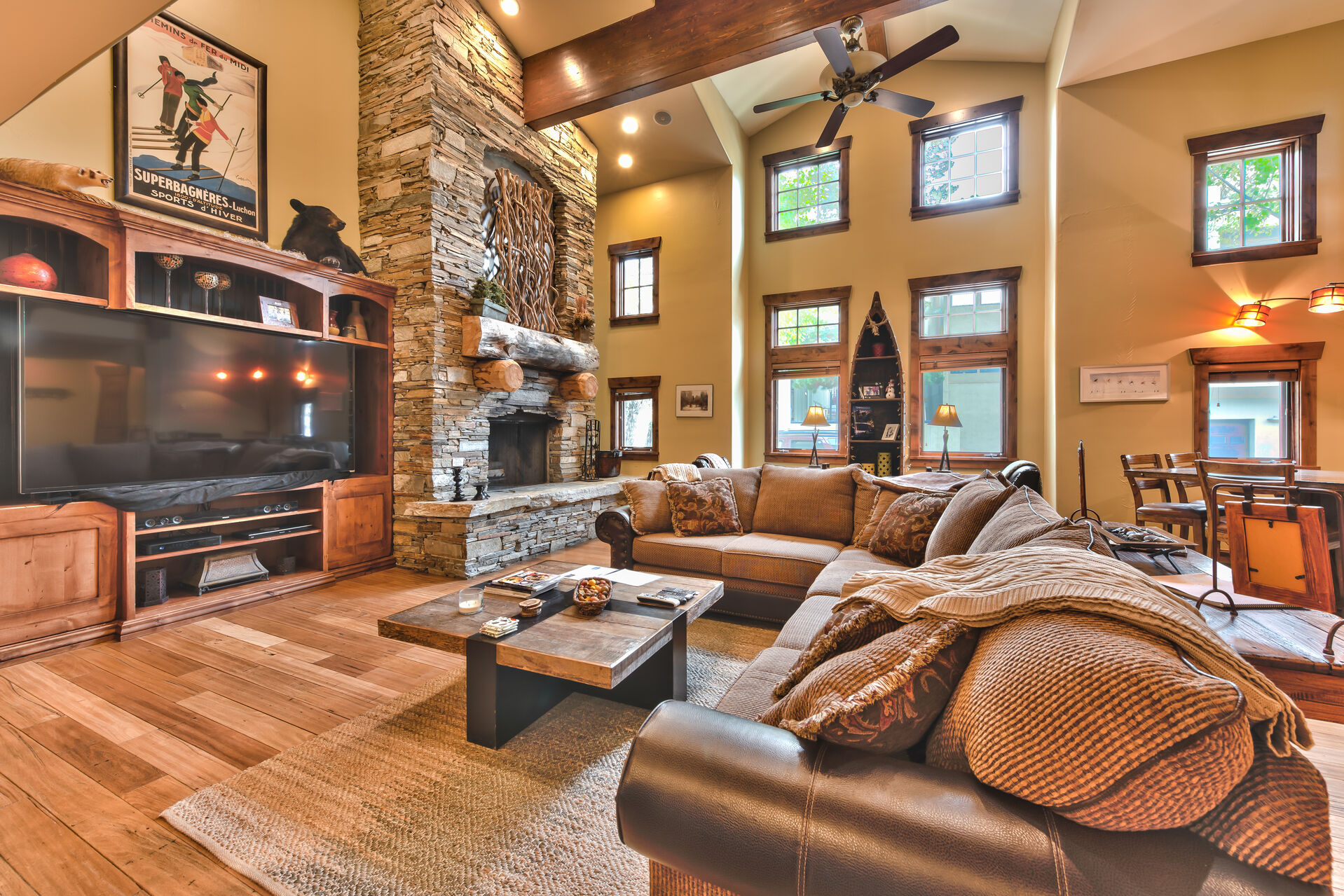 Great Room and Living Area with Fireplace in One of Our Park City Vacation Home Rentals.