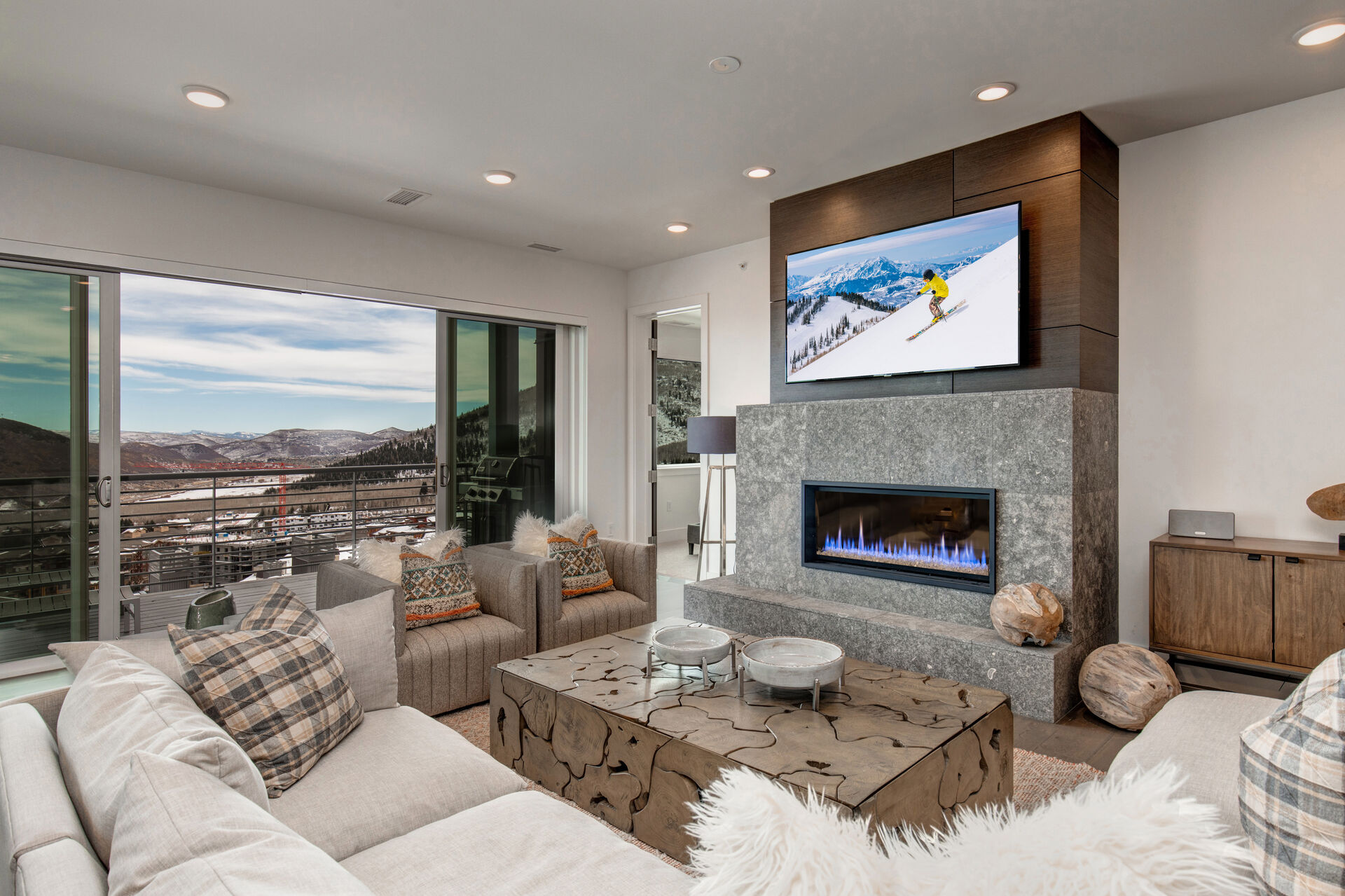 Living Room with Fireplace in One of Our Park City Vacation Rentals Ski In Ski Out.