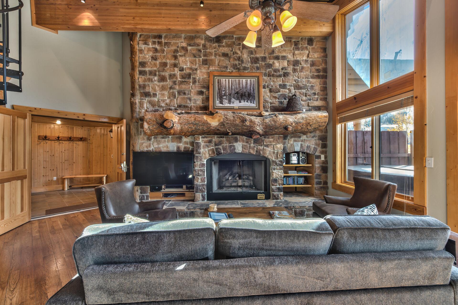 The Living Room with Fireplace in Our Black Bear Lodge in Deer Valley, Utah.