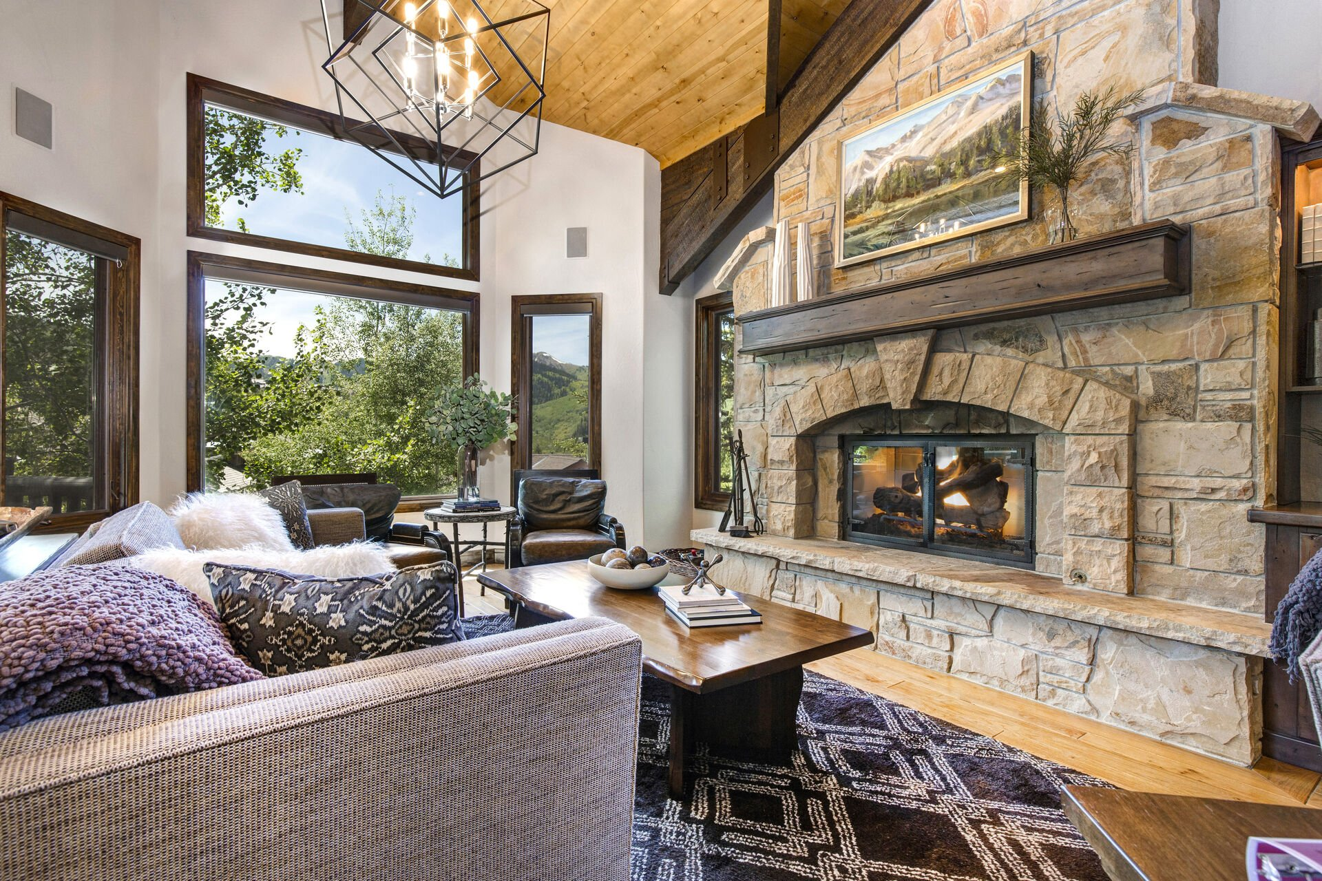 Living Room with Fireplace and TV of Our Deer Valley House Rental.