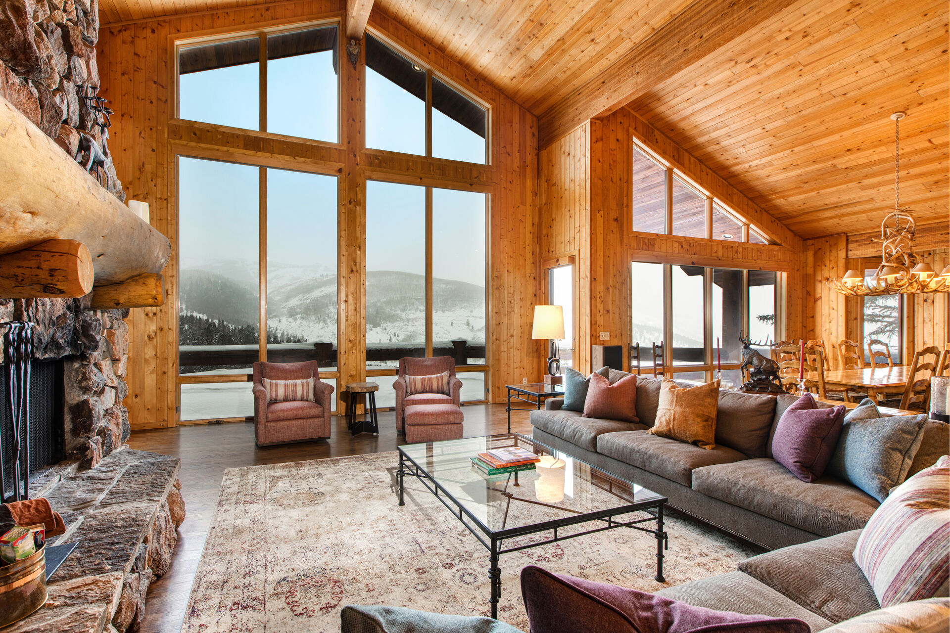 Living Room with Stunning Mountain Views in One of Our Rentals in Park City.